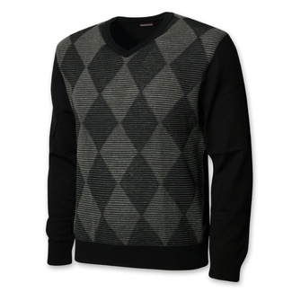 Men sweater black with argyle pattern 12660
