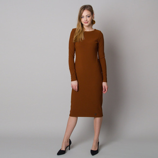 Women's dress in ribbed design and brown color 12664