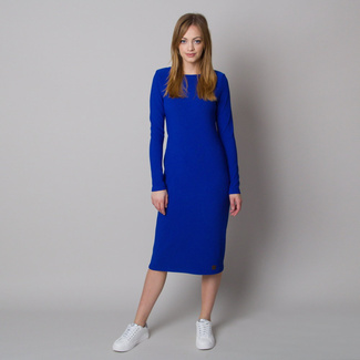 Women's dress in ribbed design and blue color 12665