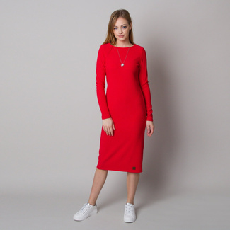 Women's dress in ribbed design and red color 12666