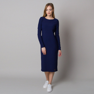 Women's dress with ribbed design and dark blue color 12667