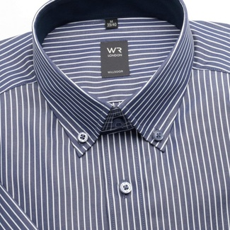 Men slim fit shirt with short sleeve (height 176-182) 1328 in blue color with strips