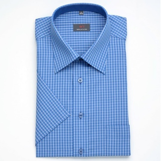 Men classic shirt with short sleeve (height 176-182) 1331 in blue color