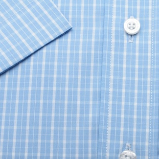 Men slim fit shirt with short sleeve (height 176/182) 1344 in blue color
