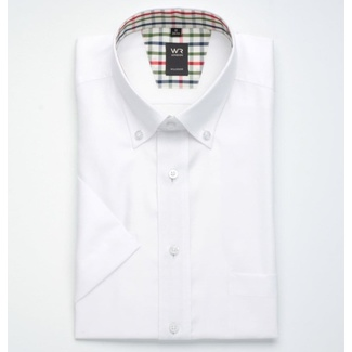 Men slim fit shirt with short sleeve (height 176-182) 1348 in white color
