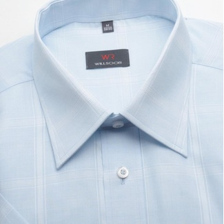 Men classic shirt with short sleeve (height 176-182) 1353 in gray color