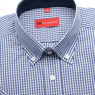 Men slim fit shirt with short sleeve (height 176/182) 1367 a checked