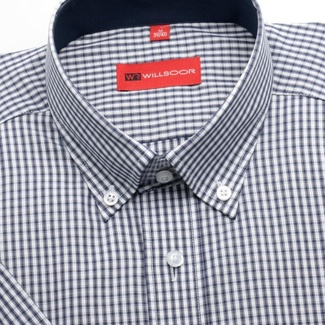 Men slim fit shirt with short sleeve (height 176/182) 1368 a checked