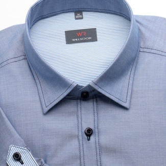 Men classic shirt with short sleeve (height 176-182) 1369 in blue color