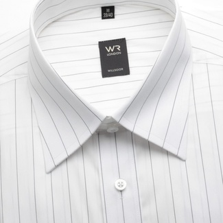 Men classic shirt WR London (height 176-182) 1400 in white color with fine strip