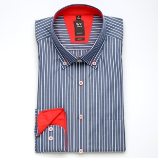 Men slim fit shirt WR London (height 176-182) 1667 in blue color with fine strips