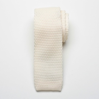Men knitted tie Willsoor 2409 in beige color, Willsoor