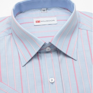 Men classic shirt with short sleeve (height 176-182) 299 in blue color with strips