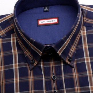 Men shirt WR Slim Fit in blue color with checked (height 188-194) 4535