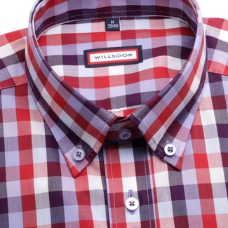 Men shirt WR Slim Fit in red color with checked (height 188-194) 4655