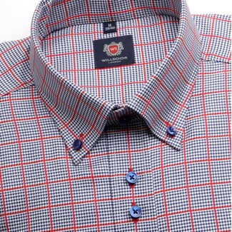Men shirt WR London in blue color with micro pattern a checked (height 176-182) 4680