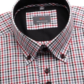 Men shirt WR Slim in white color with checked Slim Fit (height 164-170) 4683