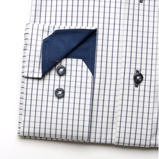 Men shirt WR London slim fit (height 188-194) 4793 in white color with blue checked