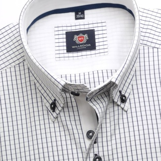 Men shirt WR London in white color with blue checked (height 188-194) 4794
