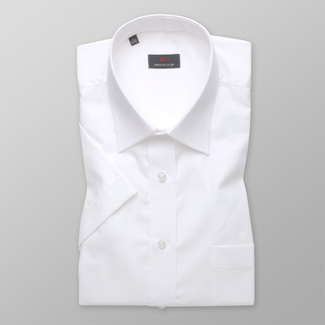 Men classic shirt (height 176-182) 4798 in white color with short sleeve