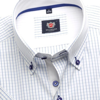 Men shirt WR London with short sleeve in white color with blue checked (height 176-182) 4800