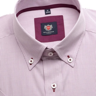 Men shirt WR London with short sleeve in white color with checked in claret color (height 176-182) 4807