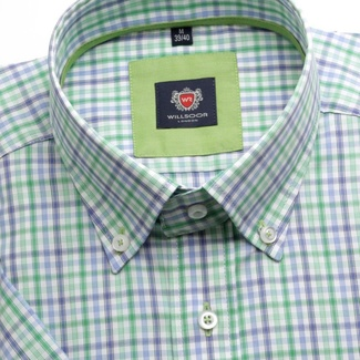Men shirt WR London with short sleeve in white color with checked in blue a green (height 176-182) 4809