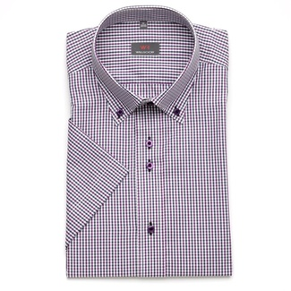 Men shirt WR Slim Fit with short sleeve a fine checked purple a blue color (height 176-182) 4814
