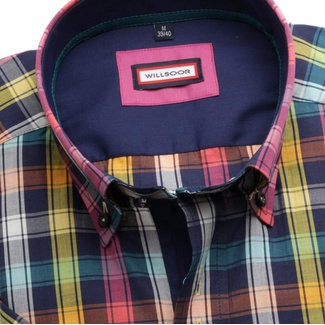 Men shirt WR Slim Fit with short sleeve a coloured checked (height 176-182) 4815