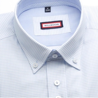 Men shirt WR Classic in white color with blue checked pattern (height 188-194) 4826
