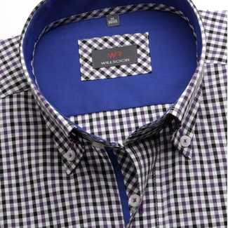 Men shirt WR Slim Fit with short sleeve a coloured checked (height 176-182) 4835