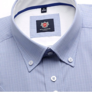 Men shirt WR London with short sleeve in blue color with checked pattern (height 176-182) 4865