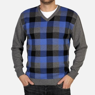 Men pullover Willsoor 4869 in gray color with color checked pattern