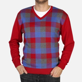 Men pullover Willsoor 4871 in red color with color checked pattern