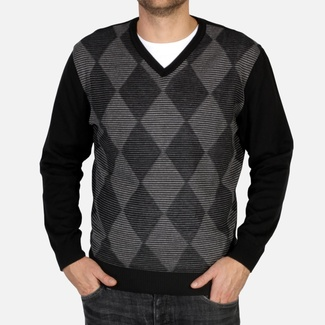 Men sweater Willsoor 4872 in black color with rhombus pattern