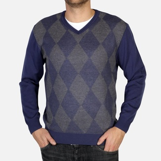 Men sweater Willsoor 4873 in dark blue color with rhombus pattern