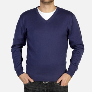 Men pullover Willsoor 4876 in dark blue color with neck to