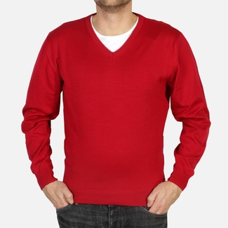 Men sweater Willsoor 4877 in claret color a neck to