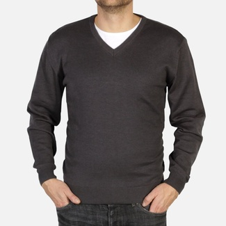 Men pullover Willsoor 4878 in anthracite color with neck to
