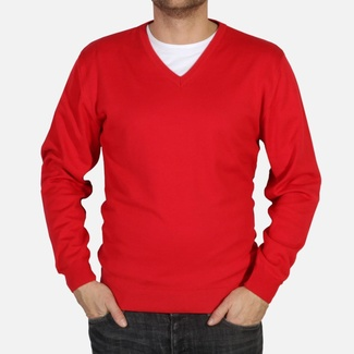 Men sweater Willsoor 4879 in red color with neck to