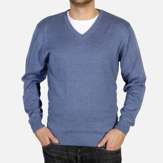 Men pullover Willsoor 4880 in light blue color with neck to