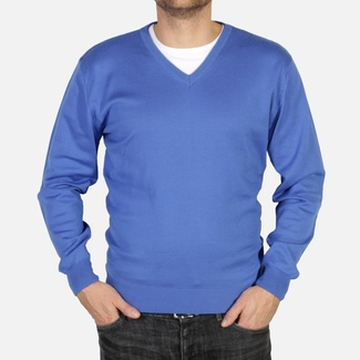 Men pullover Willsoor 4881 in blue color with neck to