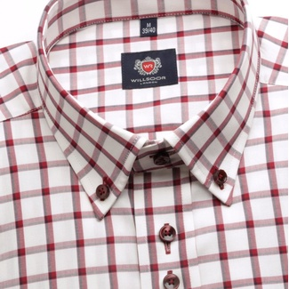 Men shirt WR London with short sleeve in white color with checked (height 176-182) 4891