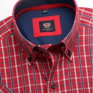 Men shirt WR London with short sleeve in red color with checked (height 176-182) 4913