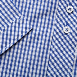 Men shirt WR London with short sleeve with blue white checked (height 176-182) 4931