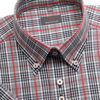 Men shirt WR Slim Fit with short sleeve a checked in white, blue a red color (height 176-182) 4941