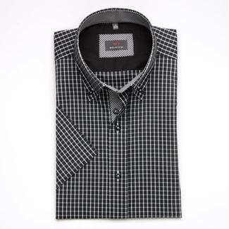 Men shirt WR Slim Fit with short sleeve in black color with white checked (height 176-182) 4943