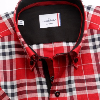 Men shirt WR London with short sleeve in red color with checked (height 176-182) 4953