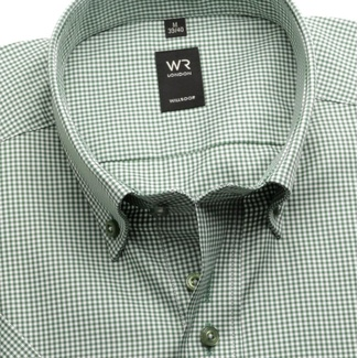 Men shirt WR London with short sleeve with green-white checked (height 176-182) 4955