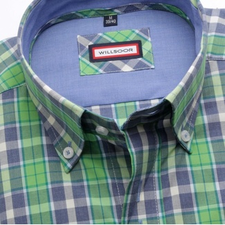 Men shirt WR London with blue-green checked (height 176-182) 5007